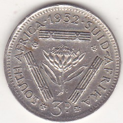 SOUTH AFRICA 3 PENCE 1952